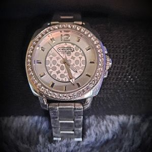 ⌚Stainless steel COACH watch with Crystal Bezel
